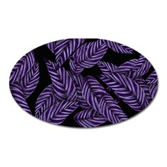 Tropical Leaves Purple Oval Magnet