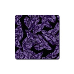 Tropical Leaves Purple Square Magnet