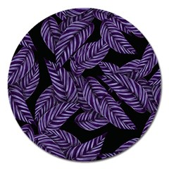 Tropical Leaves Purple Magnet 5  (round)