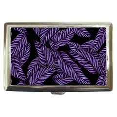 Tropical Leaves Purple Cigarette Money Case