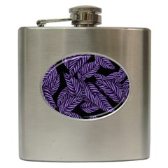 Tropical Leaves Purple Hip Flask (6 Oz)