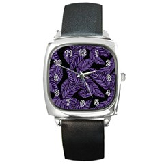 Tropical Leaves Purple Square Metal Watch