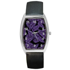 Tropical Leaves Purple Barrel Style Metal Watch