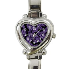 Tropical Leaves Purple Heart Italian Charm Watch