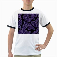 Tropical Leaves Purple Ringer T