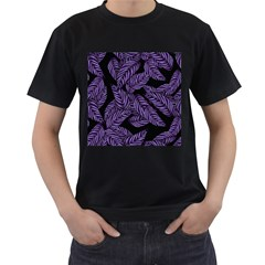 Tropical Leaves Purple Men s T Shirt (black) (two Sided)