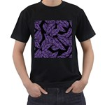 Tropical Leaves Purple Men s T-Shirt (Black) (Two Sided) Front