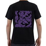 Tropical Leaves Purple Men s T-Shirt (Black) (Two Sided) Back