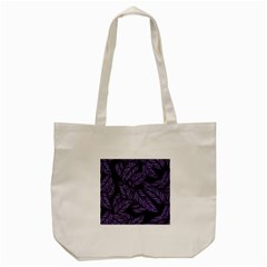Tropical Leaves Purple Tote Bag (cream)