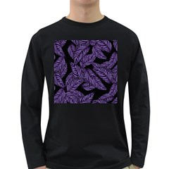 Tropical Leaves Purple Long Sleeve Dark T Shirt