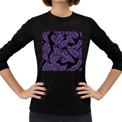 Tropical Leaves Purple Women s Long Sleeve Dark T Shirt