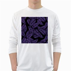Tropical Leaves Purple Long Sleeve T Shirt