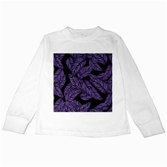 Tropical Leaves Purple Kids Long Sleeve T Shirts