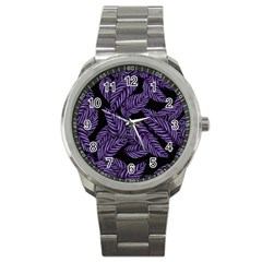 Tropical Leaves Purple Sport Metal Watch