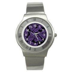 Tropical Leaves Purple Stainless Steel Watch