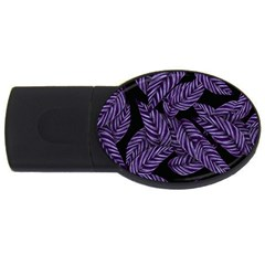 Tropical Leaves Purple Usb Flash Drive Oval (4 Gb)