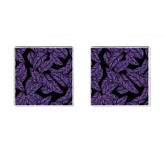 Tropical Leaves Purple Cufflinks (square)