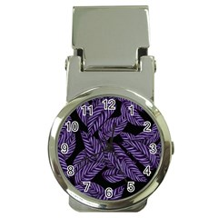 Tropical Leaves Purple Money Clip Watches