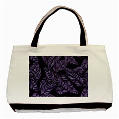 Tropical Leaves Purple Basic Tote Bag