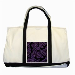 Tropical Leaves Purple Two Tone Tote Bag