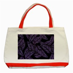 Tropical Leaves Purple Classic Tote Bag (red)