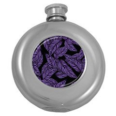 Tropical Leaves Purple Round Hip Flask (5 Oz)