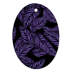 Tropical Leaves Purple Oval Ornament (two Sides)