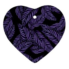 Tropical Leaves Purple Heart Ornament (two Sides)