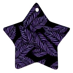 Tropical Leaves Purple Star Ornament (two Sides)