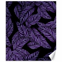 Tropical Leaves Purple Canvas 8  X 10