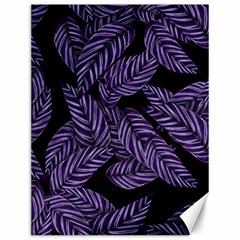 Tropical Leaves Purple Canvas 12  X 16