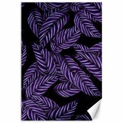 Tropical Leaves Purple Canvas 12  X 18