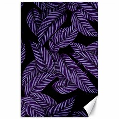 Tropical Leaves Purple Canvas 24  X 36