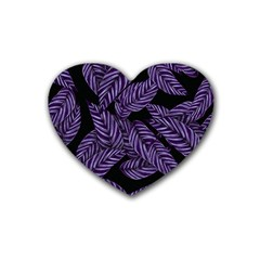 Tropical Leaves Purple Rubber Coaster (heart)