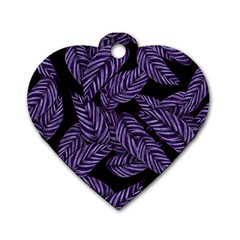 Tropical Leaves Purple Dog Tag Heart (two Sides)