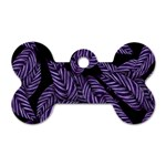 Tropical Leaves Purple Dog Tag Bone (One Side) Front