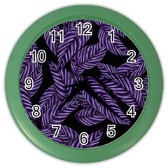 Tropical Leaves Purple Color Wall Clock