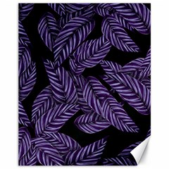 Tropical Leaves Purple Canvas 11  X 14