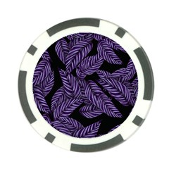 Tropical Leaves Purple Poker Chip Card Guard