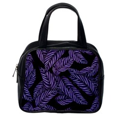 Tropical Leaves Purple Classic Handbag (one Side)