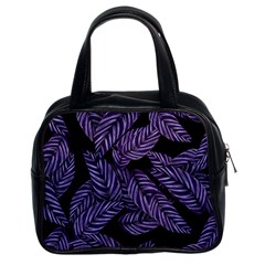 Tropical Leaves Purple Classic Handbag (two Sides)
