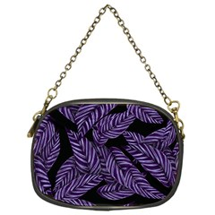 Tropical Leaves Purple Chain Purse (one Side)