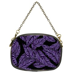 Tropical Leaves Purple Chain Purse (two Sides)