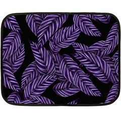 Tropical Leaves Purple Double Sided Fleece Blanket (mini)