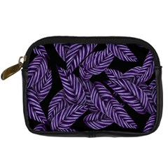 Tropical Leaves Purple Digital Camera Leather Case