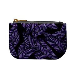 Tropical Leaves Purple Mini Coin Purse