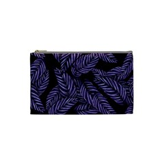 Tropical Leaves Purple Cosmetic Bag (small)
