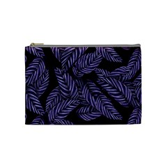 Tropical Leaves Purple Cosmetic Bag (medium)
