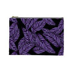 Tropical Leaves Purple Cosmetic Bag (large)