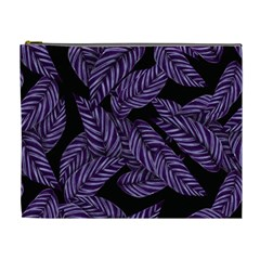 Tropical Leaves Purple Cosmetic Bag (xl)